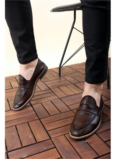 Oksit Jes Püsküllü Erkek Loafer Rugan Ayakkabı Kahve